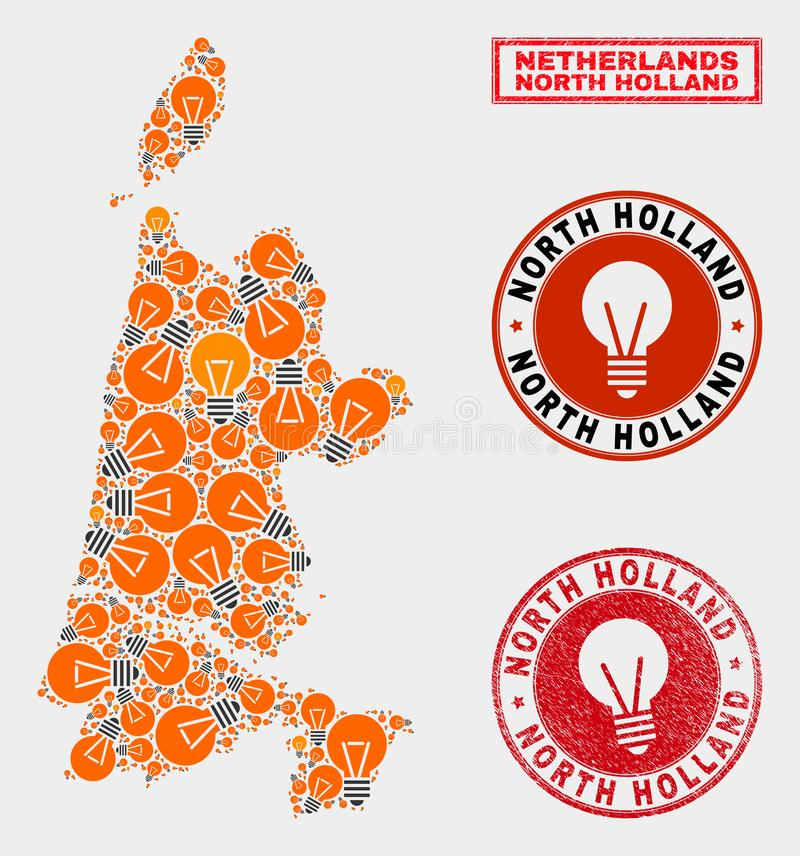 Electrical Bulb Mosaic North Holland Map and Scratched Stamp Seals. Electric lamp mosaic North Holland map and rubber rounded stamp seals. Mosaic vector North stock illustration