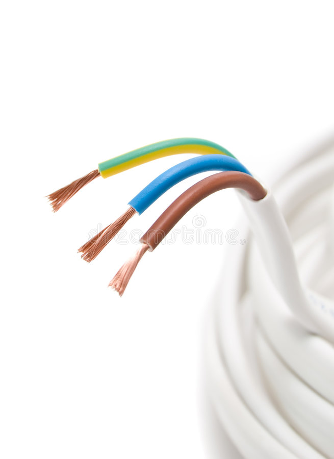 Electrical Cable On White Background Stock Photo - Image of ...