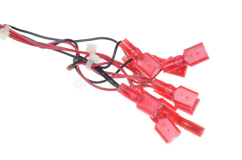 Electrical cables with red terminals royalty free stock photography
