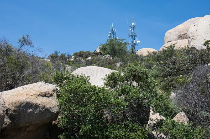 Electrical cell and communication towers on top of Mt. Woodson in Southern California. Electrical cell and communication towers on top of Mt. Woodson in royalty free stock images