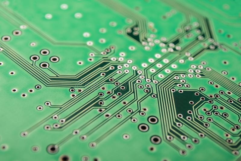 Electrical circuit board green, background stock photo