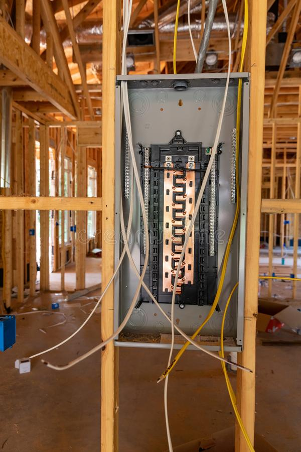 Electrical Circuit Breaker panel in new home construction stock photography