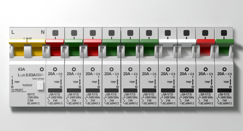Electrical Circuit Breaker Panel stock image