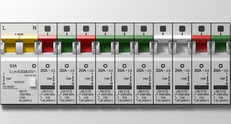Electrical Circuit Breaker Panel stock photography
