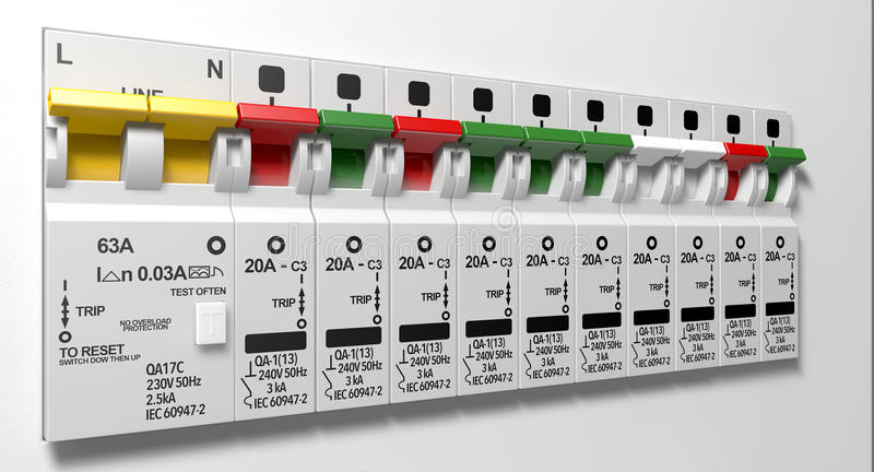 Electrical Circuit Breaker Panel. A row of switched on household electrical circuit breakers on a wall panel royalty free stock photos