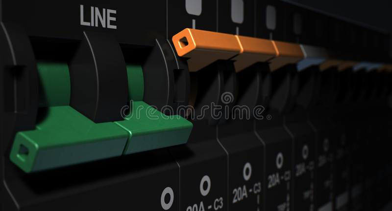 Electrical Circuit Breaker Panel. A row of switched off household electrical circuit breakers on a wall panel royalty free stock image