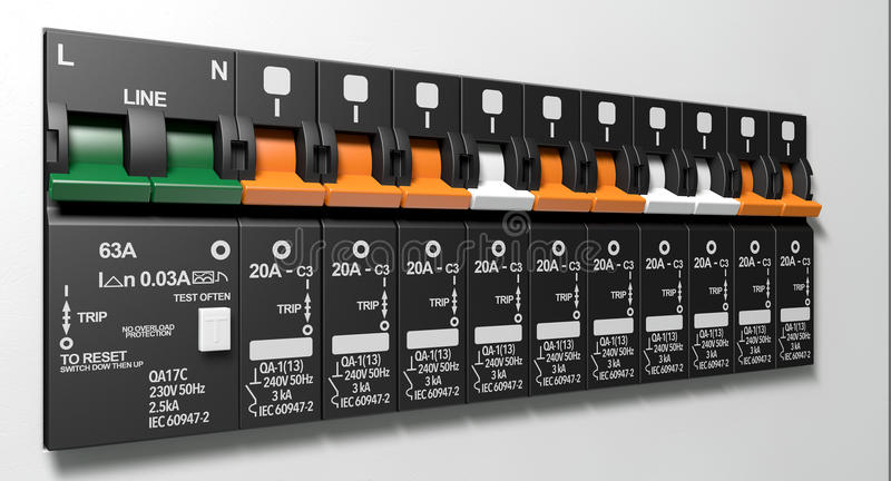 Electrical Circuit Breaker Panel. A row of switched off household electrical circuit breakers on a wall panel royalty free stock photos