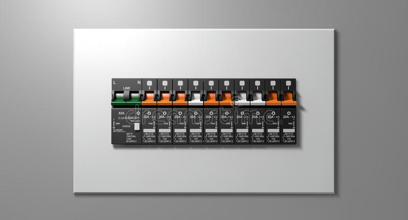 Electrical Circuit Breaker Panel. A row of switched off household electrical circuit breakers on a wall panel stock photography