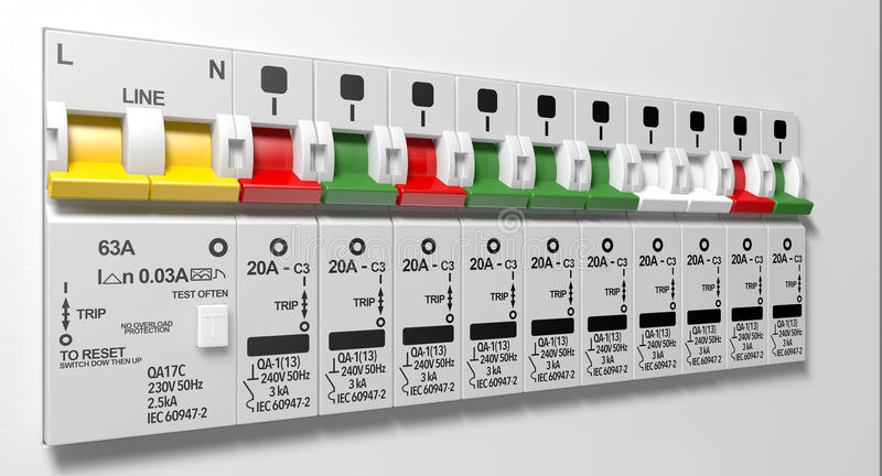 Electrical Circuit Breaker Panel. A row of switched off household electrical circuit breakers on a wall panel stock photos