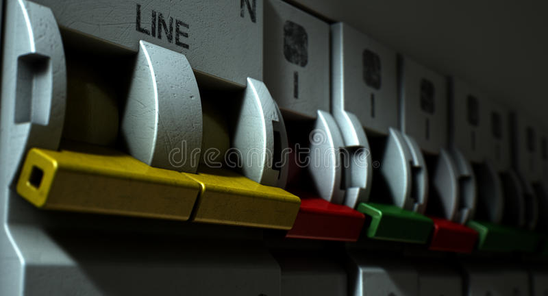 Electrical Circuit Breaker Panel. A row of switched off household electrical circuit breakers on a wall panel stock image