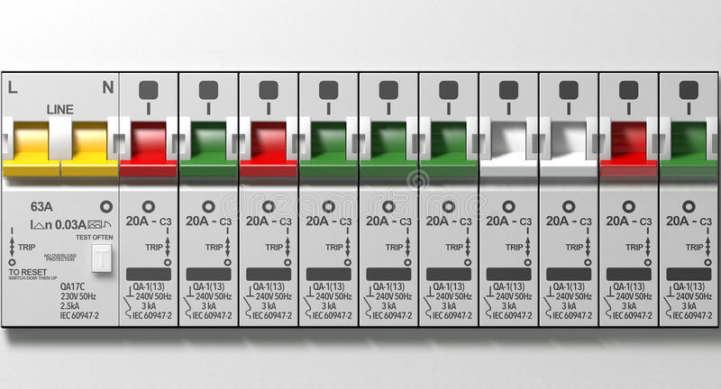 Electrical Circuit Breaker Panel stock photos