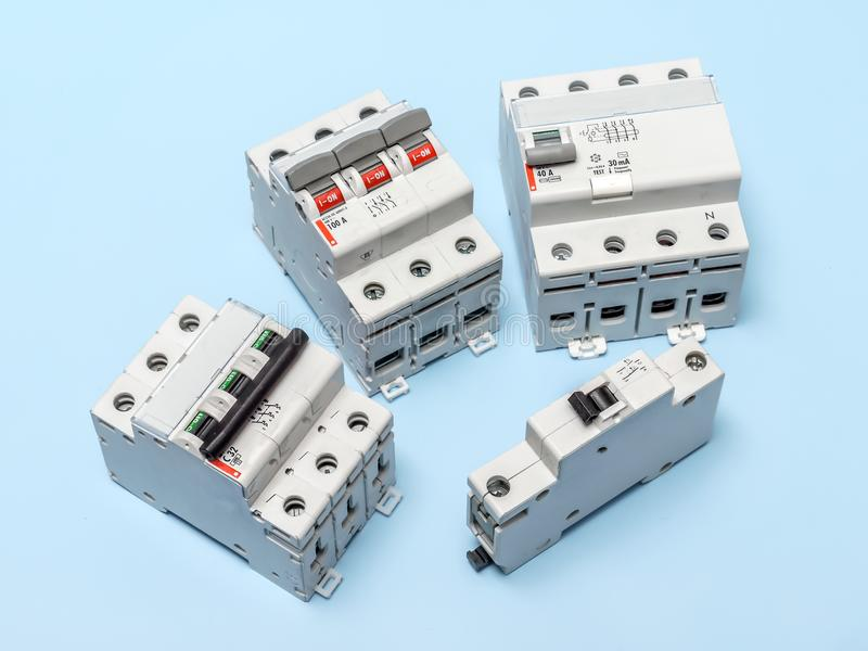 Electrical circuit breakers stock images