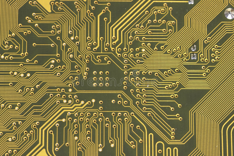 Electrical circuit close up. Electrical circuit with many conductors close up stock photo