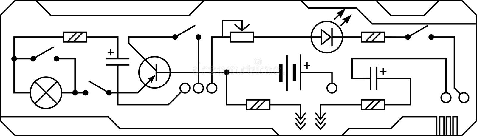 Electrical circuit of radio device resistance, transistor, diode, capacitor, inductor. Vector seamless background stock illustration