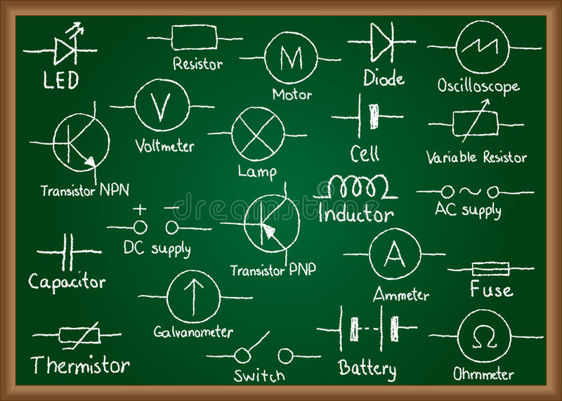 Electrical Circuit Symbols On Chalkboard Stock Vector - Illustration ...