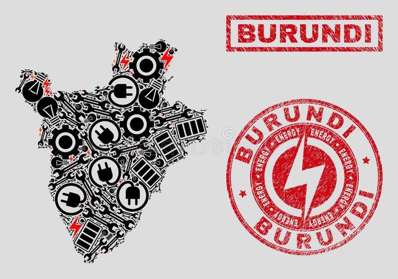 Electrical Collage Burundi Map and Snowflakes and Distress Seals royalty free illustration
