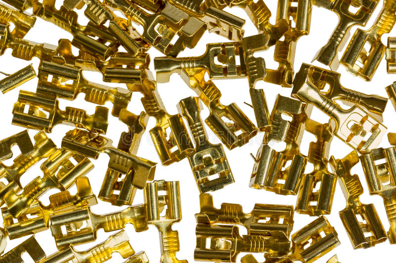 Electrical component bronze cable terminal connector stock images