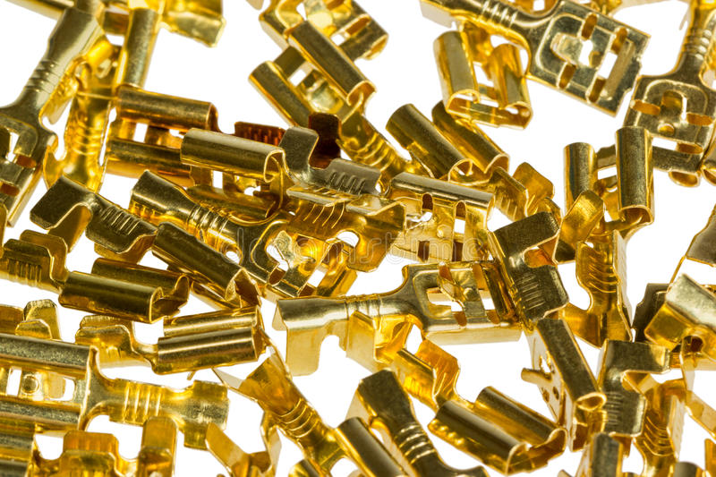 Electrical component bronze cable terminal connector royalty free stock photo