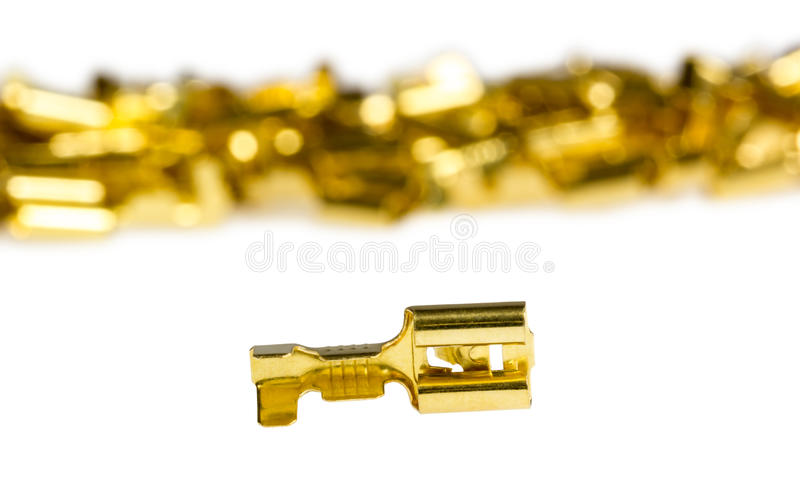 Electrical component bronze cable terminal connector. Isolated on a white background royalty free stock images