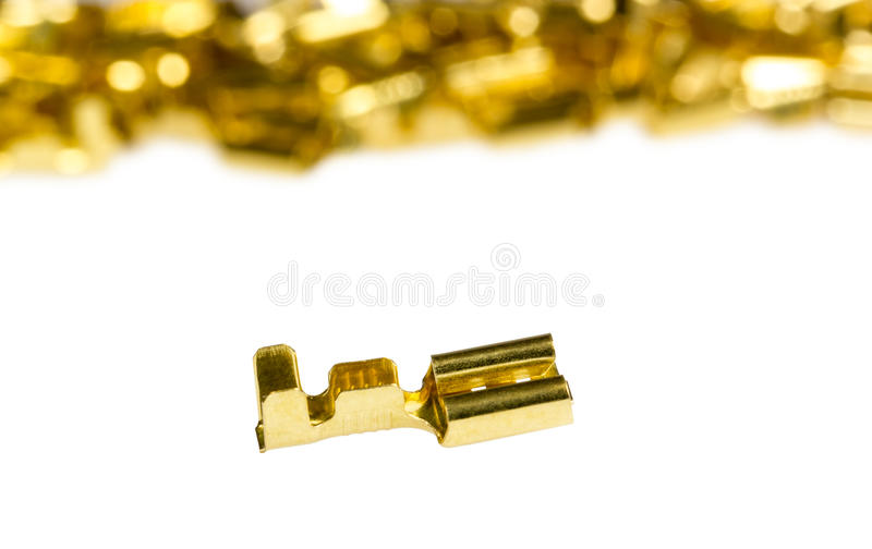 Electrical component bronze cable terminal connector. Isolated on a white background royalty free stock photography