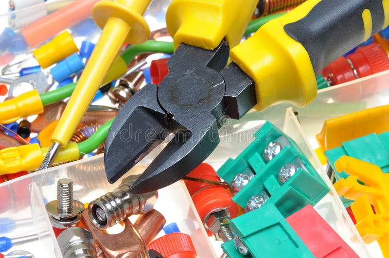 Electrical component kit. In electrical installations royalty free stock image