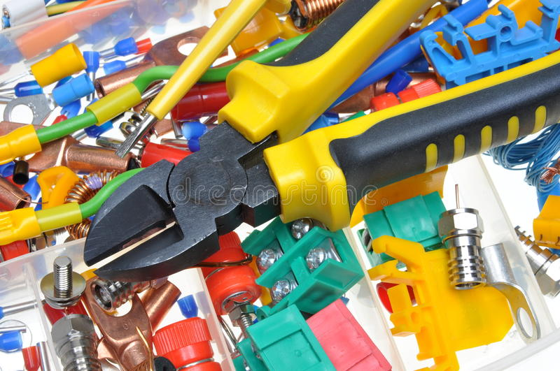 Electrical component kit. In electrical installations stock photography