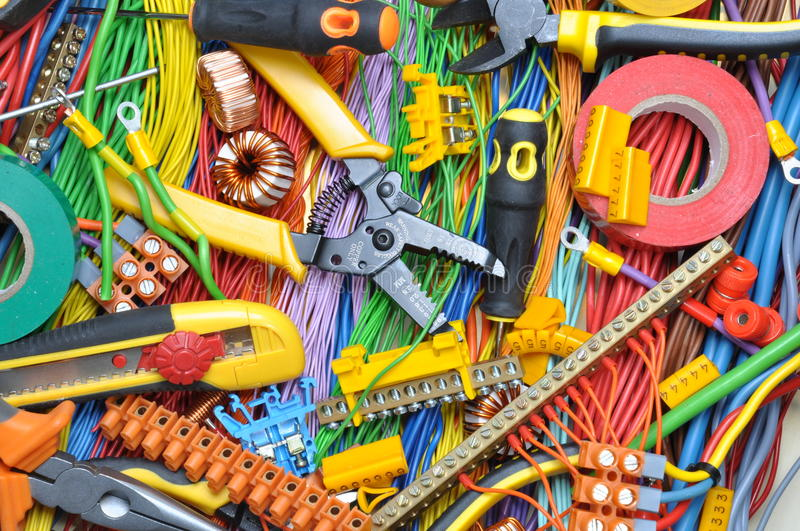 Electrical component kit and tools royalty free stock images