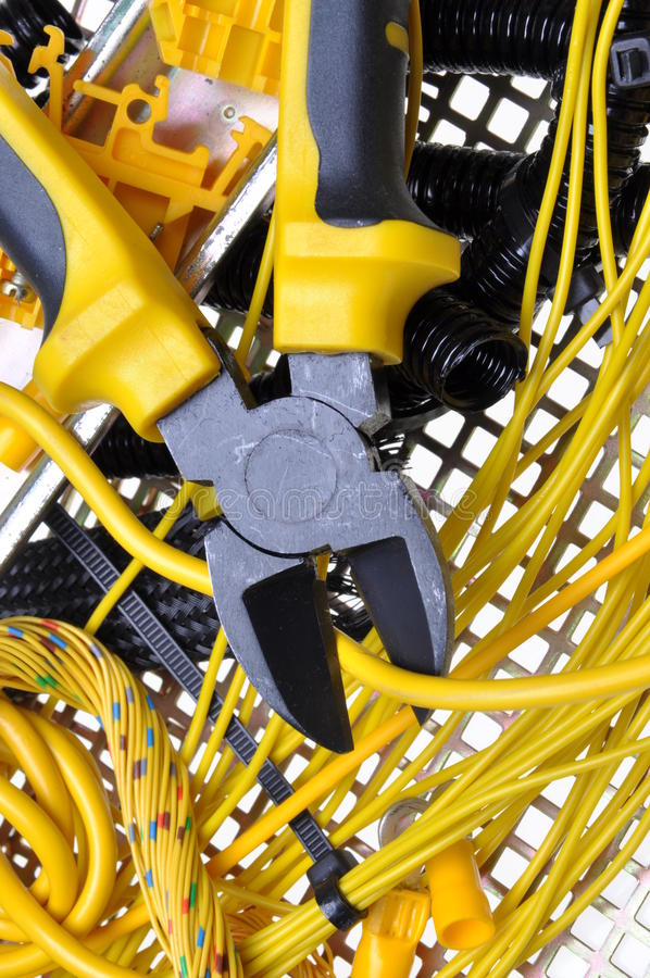 Electrical component kit. And for use in electrical installations stock image