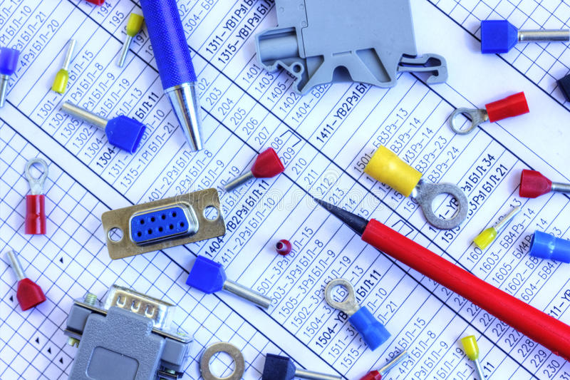 Electrical components stock photo