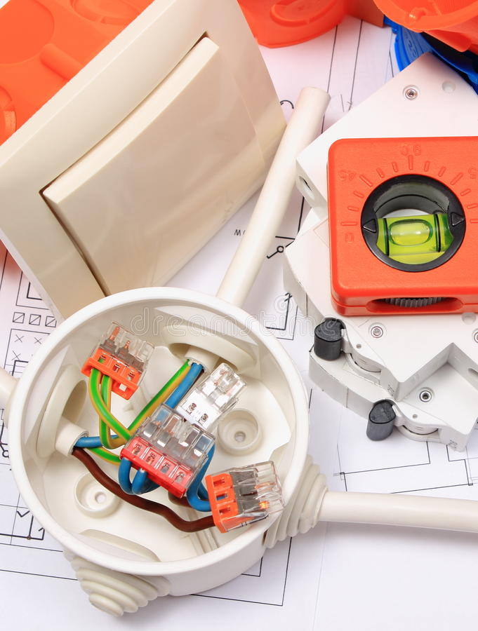 Electrical components, accessories for engineering jobs and diagrams stock photography