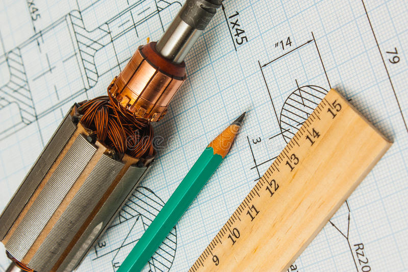 Electrical components and stationery measuring tools stock photography