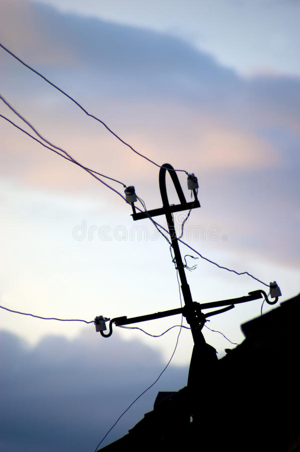 Electrical conductors. On sky background stock photo