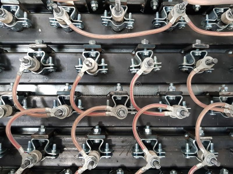 Electrical connection. Several heaters are installed on metal and connected by wires royalty free stock images