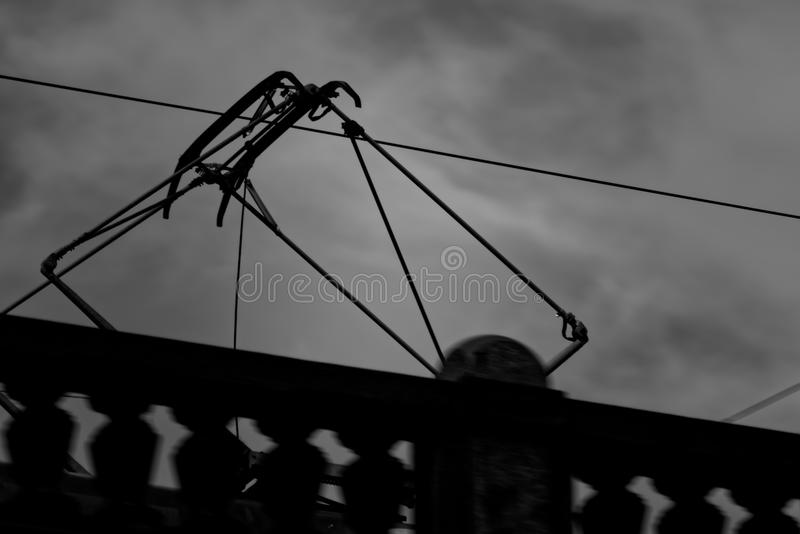 Electrical construction of the tram stock images