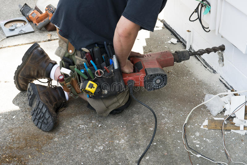 Electrical Contractor or Handyman Does Home Repair stock photo