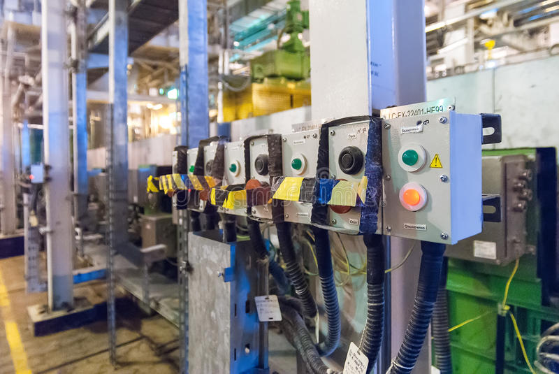 Electrical control panel of extruder machine. Tobolsk, Russia - July 15. 2016: Sibur company. Tobolsk Polymer plant. Electrical control panel of extruder machine royalty free stock photos