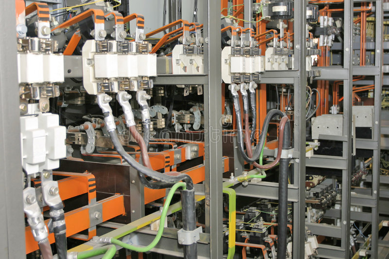 Electrical control system in factory stock photography