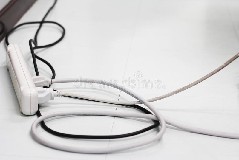 Electrical cords connected. royalty free stock photos