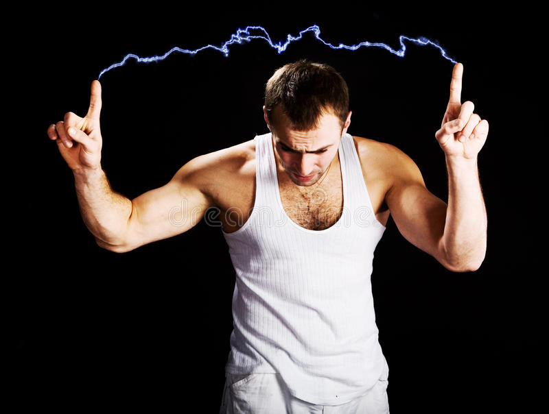 Electrical discharge. Male generates an electrical discharge royalty free stock images