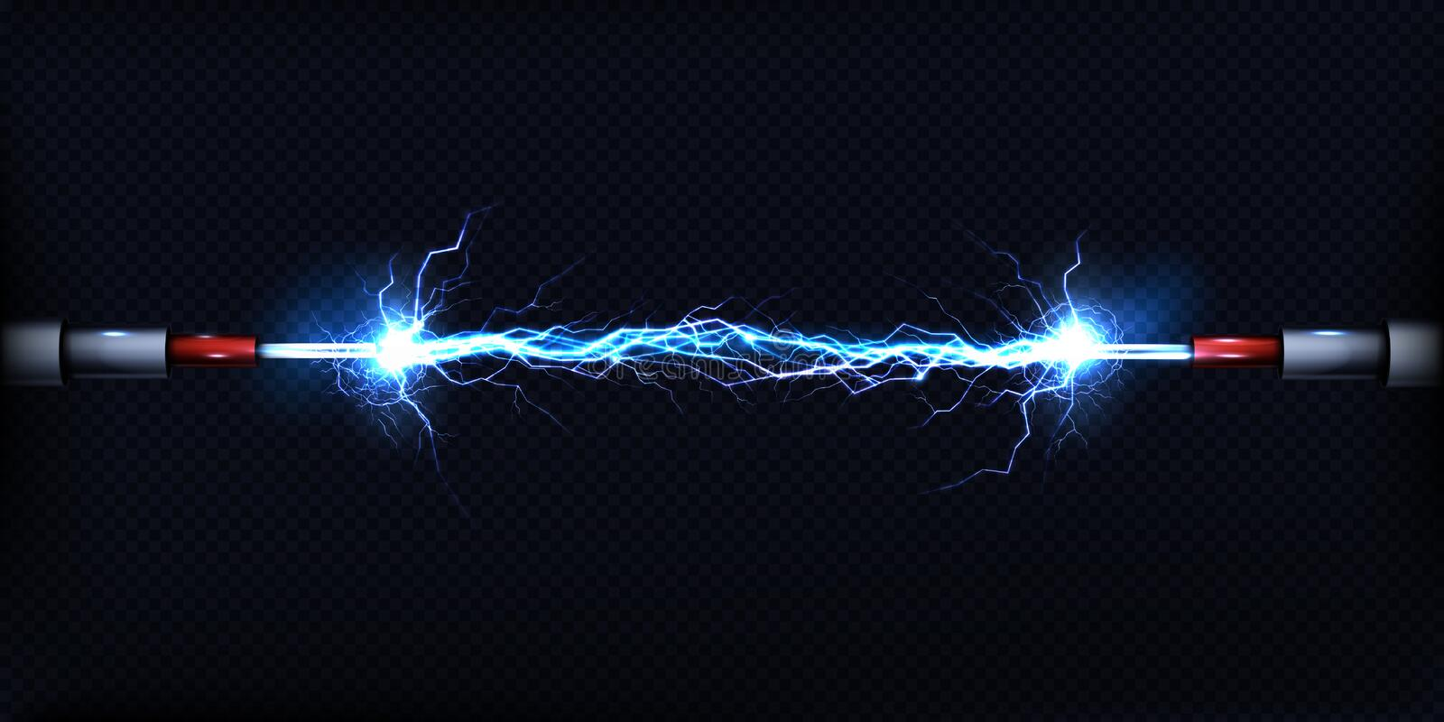 Electrical discharge between power cables vector. Electrical discharge passing through air between two pieces of naked wires or power cables 3d realistic vector vector illustration
