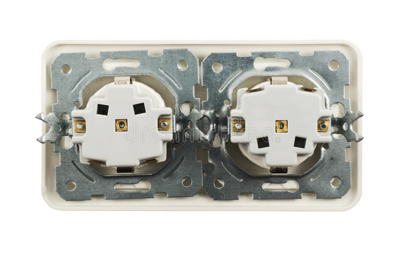 Electrical Double Jack Socket Isolated Royalty Free Stock Photo