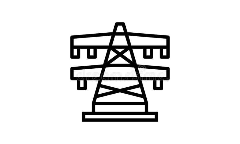 Electrical, Energy, Transmission, Transmission Tower Bold and thin black line icon vector illustration
