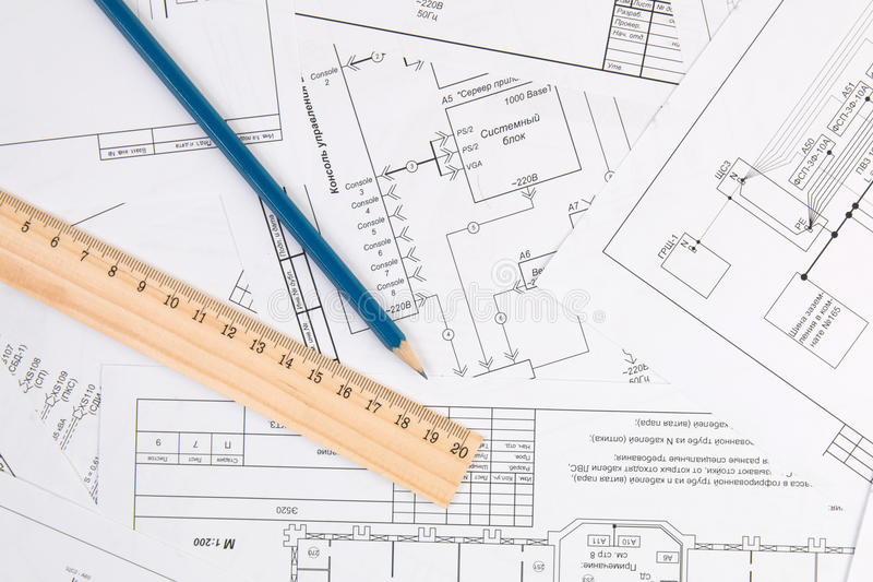 Electrical engineering drawings, pencil and ruler stock photo
