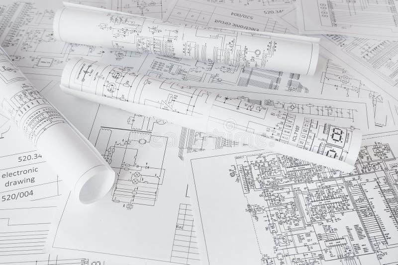 Electrical engineering drawings printing. Scientific development. stock images