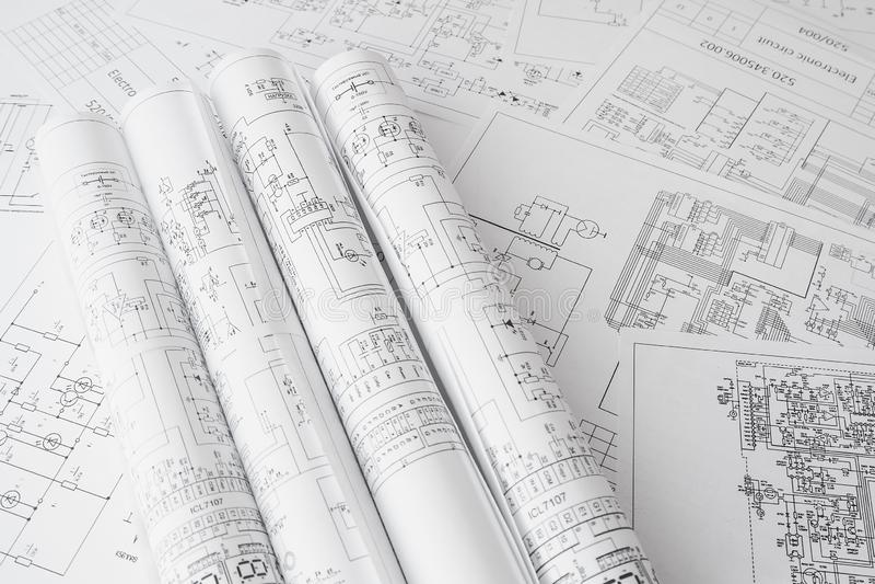 Electrical engineering drawings printing. Scientific development. stock photos