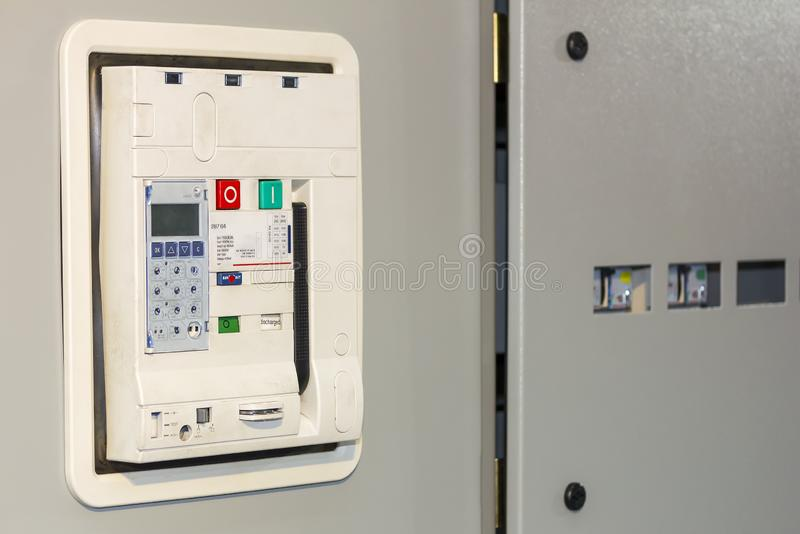 Electrical equipment air circuit breaker accessories for protect and control electric power at mdb cabinet for industrial.  royalty free stock photography
