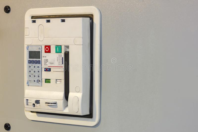 Electrical equipment air circuit breaker accessories for protect and control electric power at mdb cabinet for industrial.  stock photo