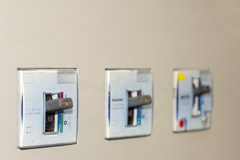 Electrical equipment circuit breaker accessories for control electric power at mdb cabinet for industrial with copy space.  royalty free stock images