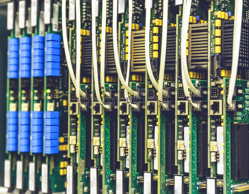 Electrical equipment, printed boards in network server data center, telecommunications equipment royalty free stock photos