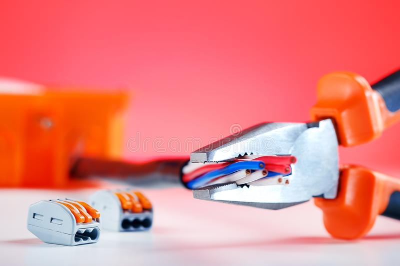 Electrical Equipment and tool. Workplace of electrician. Industry concept. Electrical Equipment and tool. Workplace of electrician. Cable connection stock image